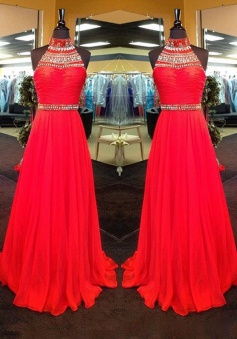 New Arrival A-Line High Neck Floor Length Red Prom/Evening Dress with Rhinestone