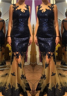 Mermaid Prom Dress/Evening Dress - Navy Blue V-Neck Sequins