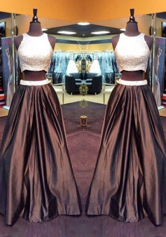 Two Piece Prom Dress/Evening Dress - Chocolate Crew Neck A-Line Beading