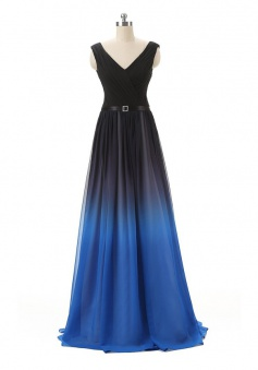 Gradient A-Line V-Neck Floor Length Chiffon Prom/Evening Dress with Belt