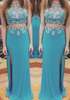 Two Piece Prom Dress/Evening Dress - Blue Crew Neck Sheath Rhinestone