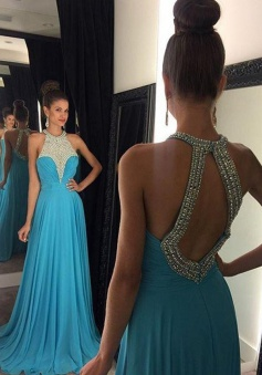 Elegant A-Line Crew Neck Floor Length Blue Prom/Evening Dress with Beading