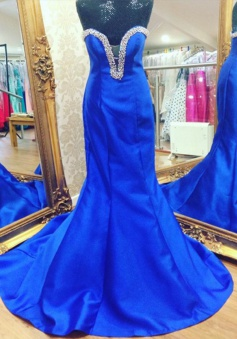 Mermaid Prom Dress/Evening Dress - Royal Blue Sweetheart Sweep Train Beading