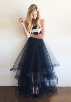 New Arrival A-Line Strapless Floor Length Navy Blue Prom Dress/Evening Dress with Ruffles