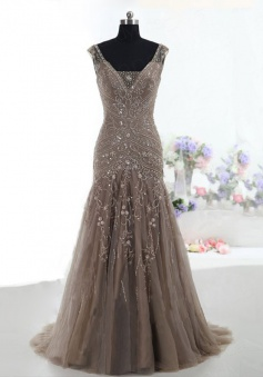 A-Line V-Neck Sweep Train Tulle Sleeveless Beaded Lace-up Brown Prom Dress Evening Gowns