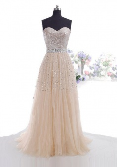 Elegant A-Line Sweetheart Floor Length Pink Prom Dress/Evening Dress with Sequins