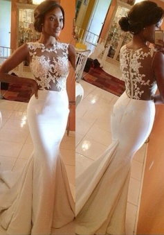 Glamorous Mermaid Prom/Evening Dress - White Crew Neck Sweep Train Appliques