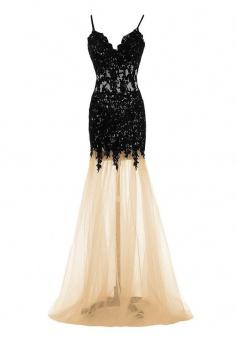 Mermaid Dress Champagne Spaghtti Straps Floor-Length Prom Dress