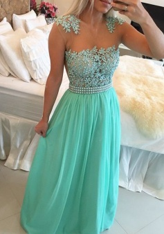 Sexy A-Line Floor-Length Blue Prom Dress With Pearls