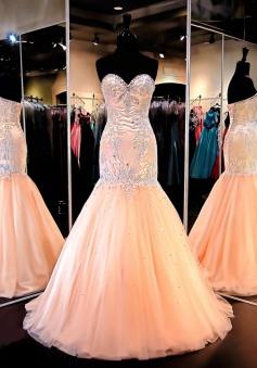 Mermaid Dress - Blush Sweetheart Court Train Beading