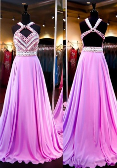 Sexy A-Line Halter Court Train Purple Prom Dress With Beading