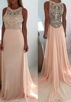 Luxurious Scoop Neck Court Train Pink Prom Dress