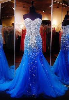 Mermaid Prom Dress - Royal Blue Sweetheart Sequins