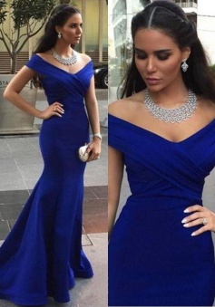 Off-shoulder Mermaid Sweep Train V-neck Blue Evening Dress