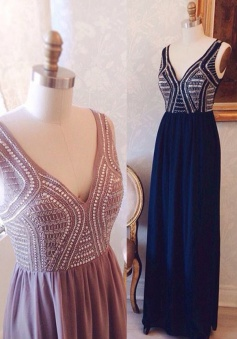 Hot A-line V-neck Floor-length Chiffon Beaded Prom Dress