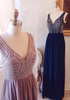 Hot A-line V-neck Floor-length Chiffon Beaded Prom Dress