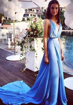 Sexy A-line V-neck Sleeveless Court Train Blue Prom Dress
