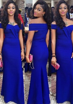 Mermaid Prom Dress -  Off-the-shoulder Royal Blue Floor-Length