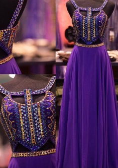 A-Line Halter Floor-Length Keyhole Open Back Grape Chiffon Prom Dress with Beading
