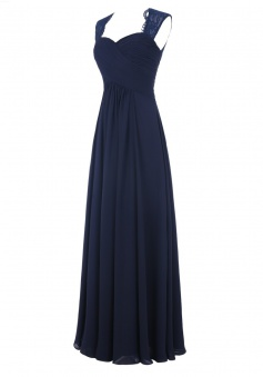 Simple A-line Sweetheart Sleeveless Chiffon Ruffles Long Navy Blue/Pink Prom Dress