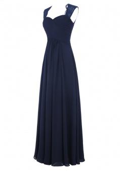 Simple A-line Sweetheart Sleeveless Chiffon Ruffles Long Navy Blue/Pink Prom Dress