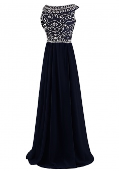 Elegant A-line Bateau Black Chiffon Long Prom Dress Evening Gowns With Beading