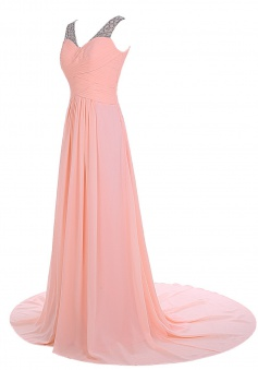 Elegant A-line Sweep Train V-neck Chiffon Beading Pink Prom Dress Evening Gowns