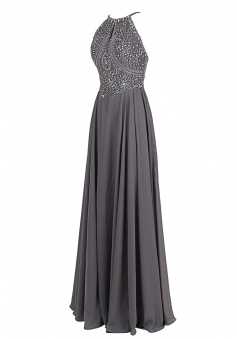 Elegant A-line Floor-length Spagehtti Straps Prom Dress With Beading