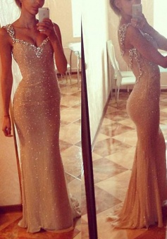 Mermaid Long Gold Sequined Sweetheart  Prom Evening Dress with Beading