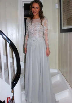 Elegant A-line Bateau Long Sleeves Grey Chiffon Prom Dress With Appliques