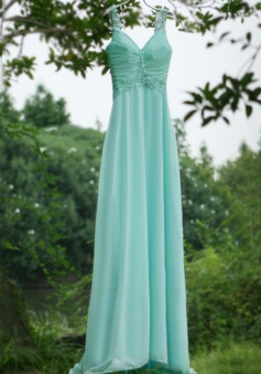 Fashion A-line Sweep Train Straps Prom Dress With Beading