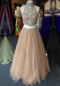 A-line High Neck Tulle Two Piece Sleeveless Beaded Khaki Long Prom Evening Dress