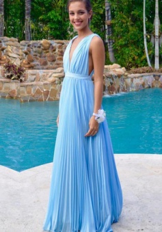 Sexy A-line Floor-length V-neck Blue Chiffon Prom Dress