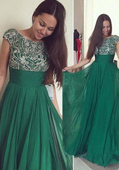 Elegant Empire Cap Sleeves Green Chiffon Prom Dress