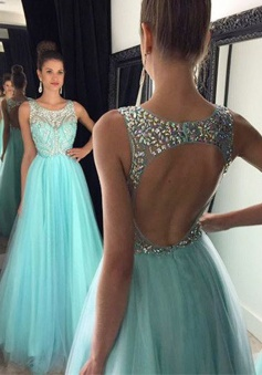 Elegant A-line Bateau Backless Prom Dress With Beading