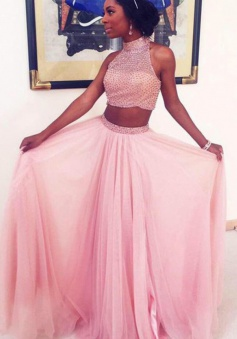 Two-piece Prom Dress - Pink  A-line Floor-length High Neck With Beading