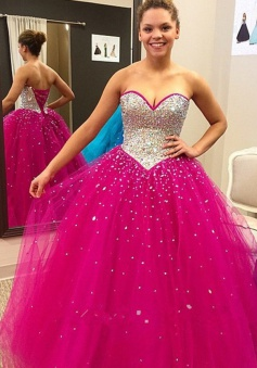 Elegant Ball Gown Coral Sweetheart Tulle Prom Dress With Sequins