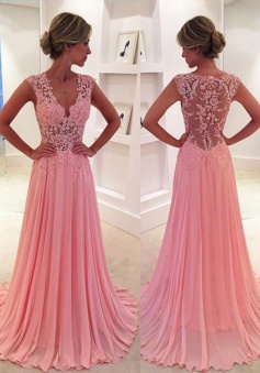 A-Line V-Neck Sweep Train Side-Zipper Pink Chiffon Prom Dress with Appliques