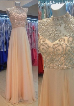 Glamorous A-Line High Neck Floor Length Pink Prom Dress/Evening Dress with Pearls