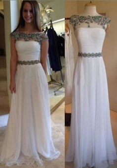 Classic A-Line Bateau Floor Length Cap Sleeves White Prom Dress/Evening Dress with Sash