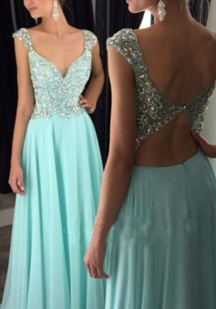 Sexy A-Line V-Neck Floor Length Blue Prom Dress/Evening Dress with Beading