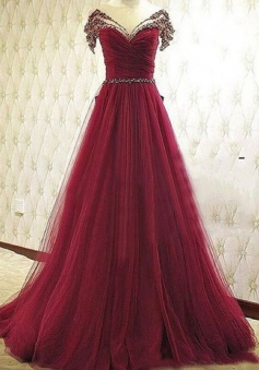 Elegant A-Line Off-the-Shoulder Court Train Burgundy Prom Dress/Evening Dress with Ruffles