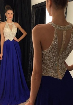Sexy A-Line Crew Neck Floor Length Royal Blue Prom Dress/Evening Dress with Beading