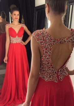Elegant  A-Line V-Neck Sweep Train Red Prom Dress/Evening Dress with Rhinestone