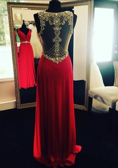 Glamorous Sheath V-Neck Floor Length Red Prom Dress/Evening Dress with Beading