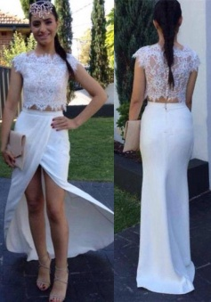 Two Piece Prom Dress/Evening Dress - White Mermaid Crew Neck Floor Length Cap Sleeves