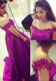Sexy A-Line Off-the-Shoulder Court Train Purple Prom Dress/Evening Dress with Appliques