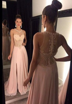 Long O'neck Prom Dress - See Through Back with Side Slit