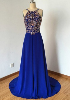 Elegant Crew Chiffon Beading Bckless Royal Blue Long Prom Dress Evening Gowns