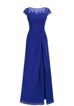 A-line Scoop Chiffon Cap Sleeves Royal Blue Long Prom/Evening Dress With Appliques